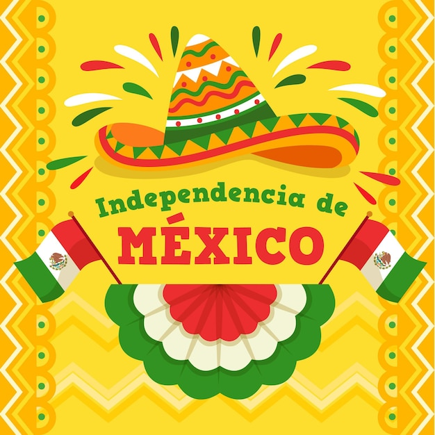 Flat design mexic independence day concept Free Vector