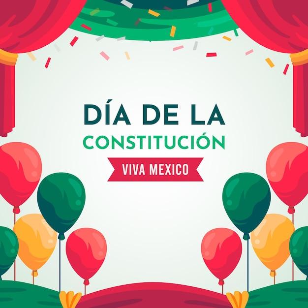 Flat design mexicoconstitution day balloons Premium Vector
