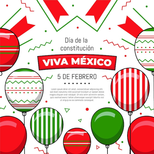 Flat design mexicoconstitution day balloons Free Vector