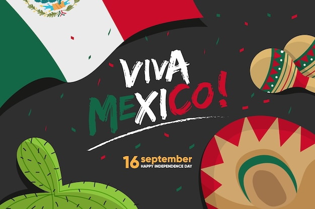 Flat design mexico independence day Free Vector