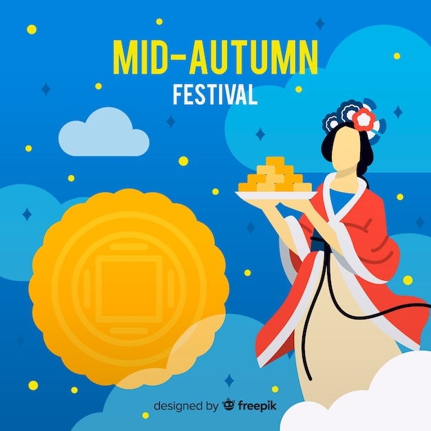 Flat design mid autumn festival Free Vector
