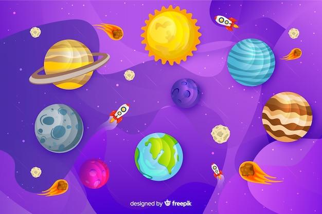 Flat design milky way planets set Free Vector