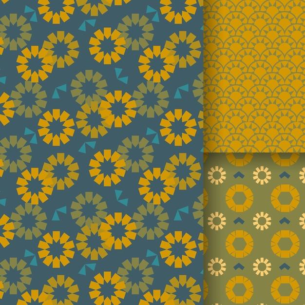 Flat design minimal sunflower pattern Premium Vector