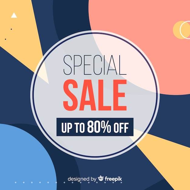 Flat design minimalist sale background Free Vector