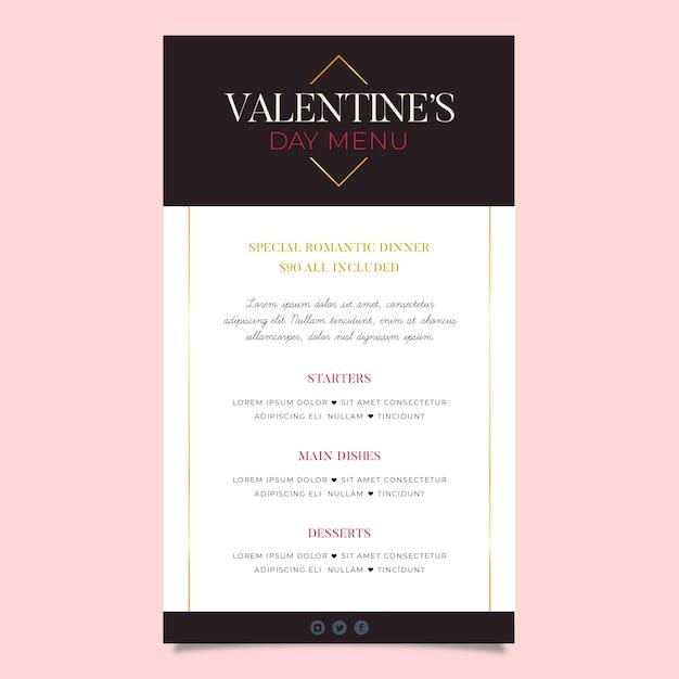 Flat design minimalist valentine's day menu template Free Vector