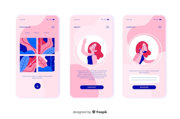 Flat design mobile apps concept for landing pages Free Vector