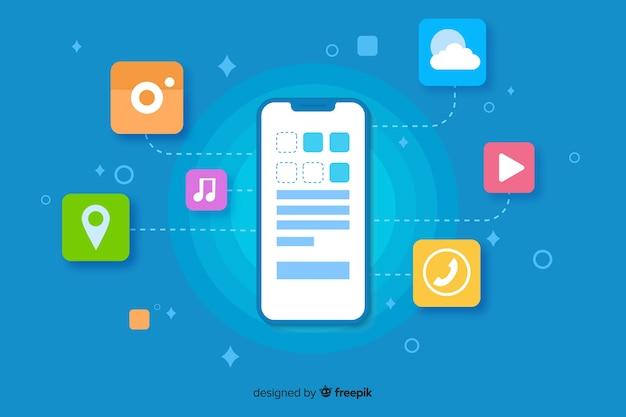 Плоский дизайн мобильного телефона с приложениями для целевой страницы Premium векторы