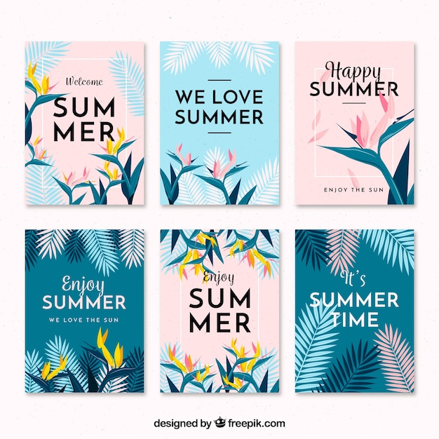 Flat design modern summer card collection Free Vector