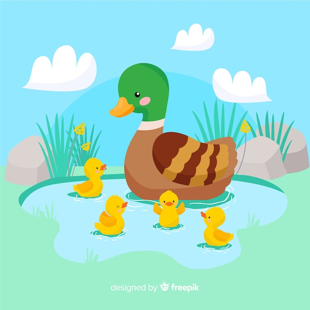 Flat design mother duck and her ducklings on water Free Vector
