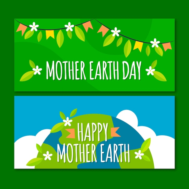 Flat design mother earth day banner concept Free Vector