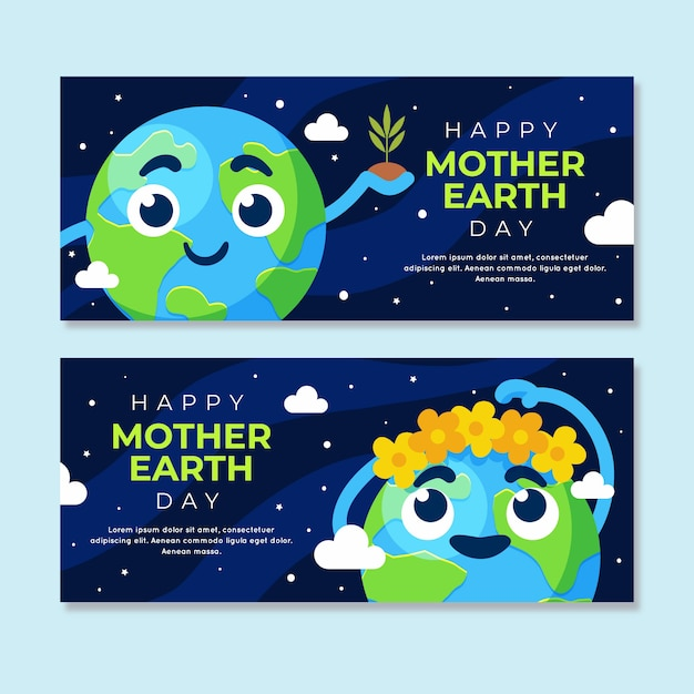 Flat design mother earth day banner crown of flowers Free Vector