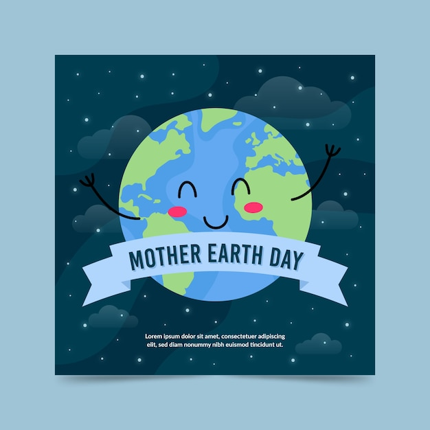 Flat design mother earth day banner with ribbon Free Vector