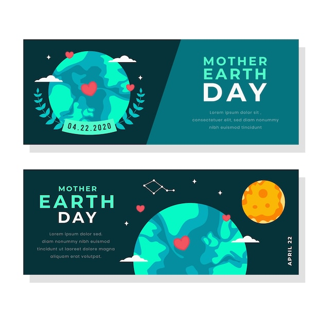 Flat design mother earth day banner with sun Free Vector
