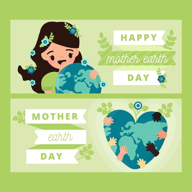 Flat design mother earth day banner with woman Free Vector