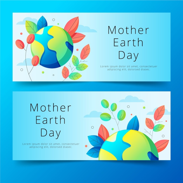 Flat design mother earth day banners concept Free Vector