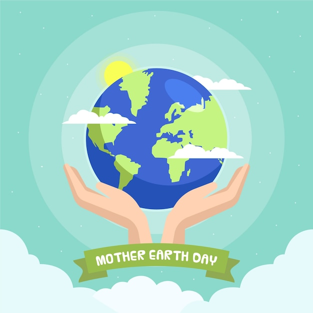 Flat design mother earth day celebration theme Free Vector