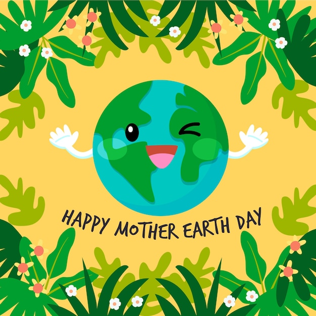 Flat design mother earth day concept Free Vector
