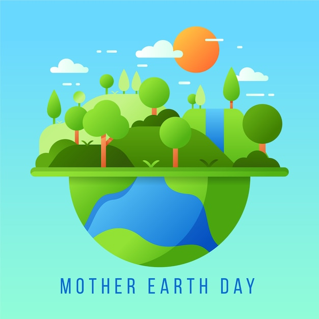 Flat design mother earth day theme Free Vector