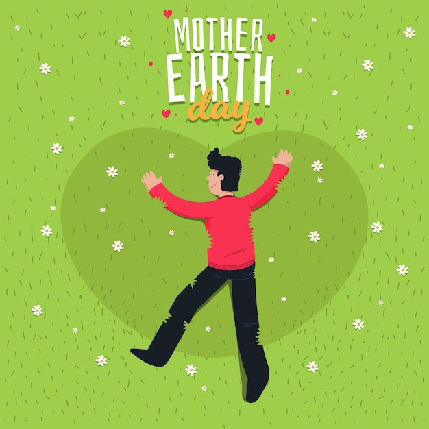 Flat design mother earth day with man on the grass Free Vector