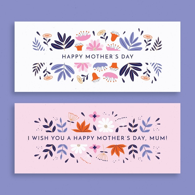 Flat design mother's day banners pack Free Vector