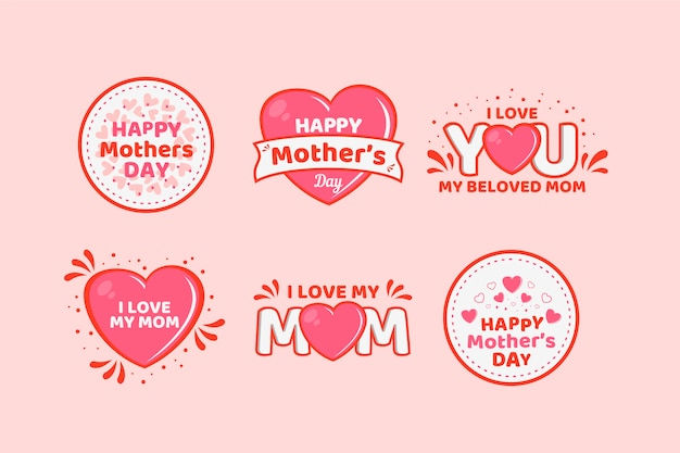 Flat design mothers day badge collection Free Vector
