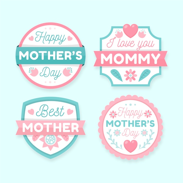 Flat design mothers day badges Free Vector
