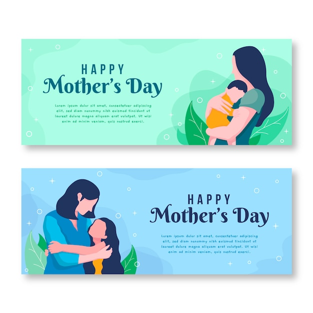 Flat design mothers day banners template Premium Vector