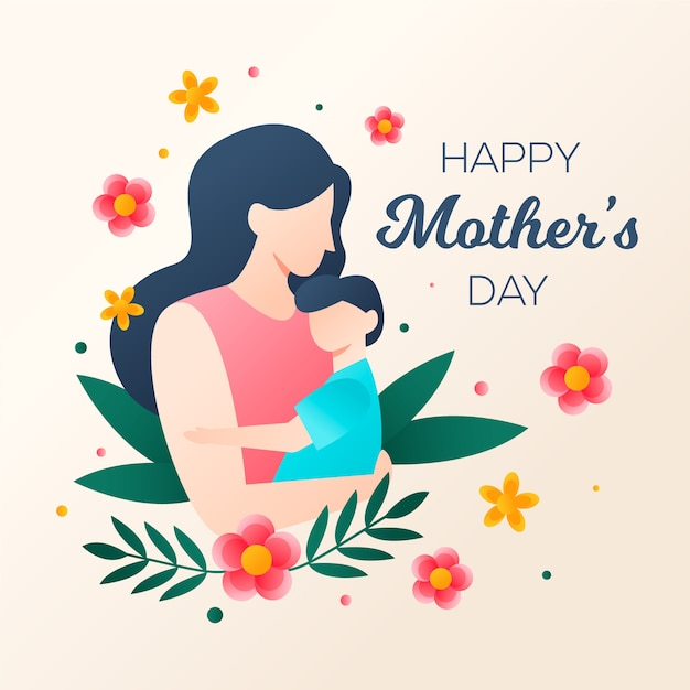 Flat design mothers day concept Free Vector