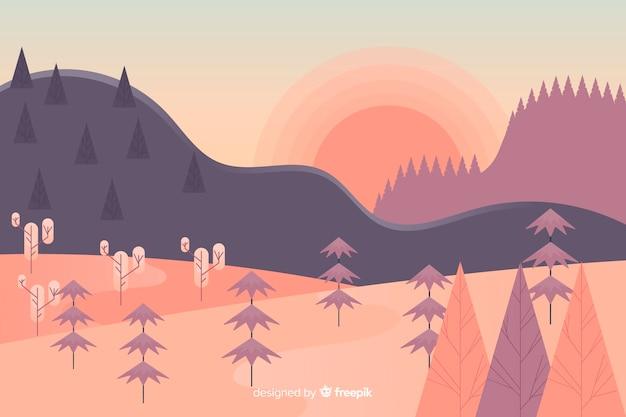 Flat design mountain landscape Free Vector