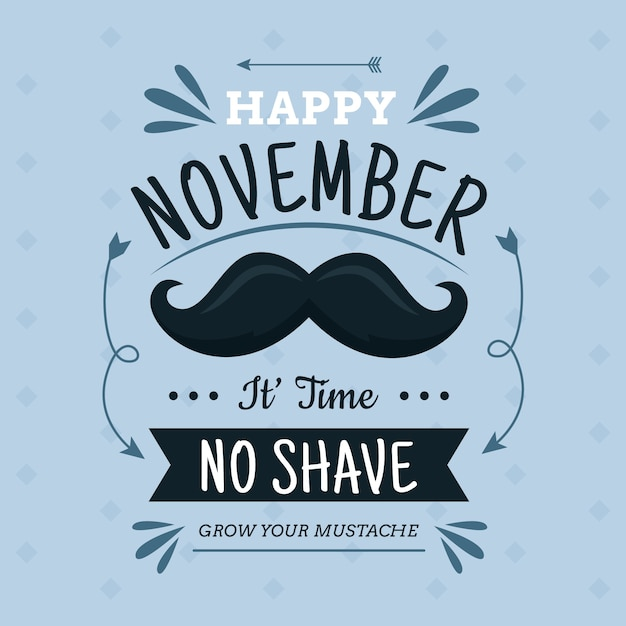 Flat design movember no shave background Free Vector