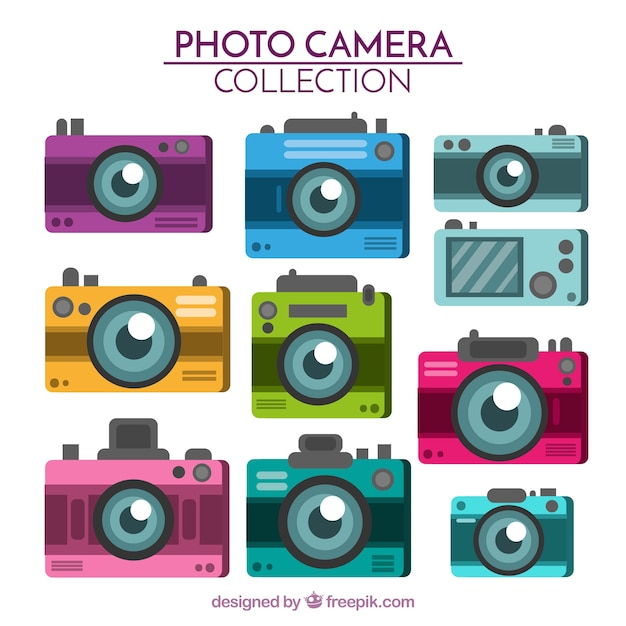Flat design multicolor camera collection
