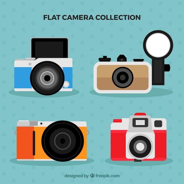 Flat design multicolor cameras collection