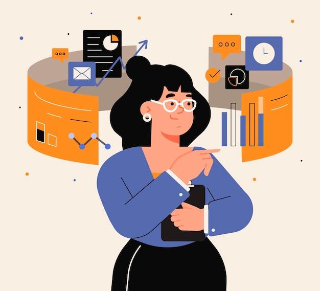 Плоский дизайн многозадачной деловой женщины Бесплатные векторы
