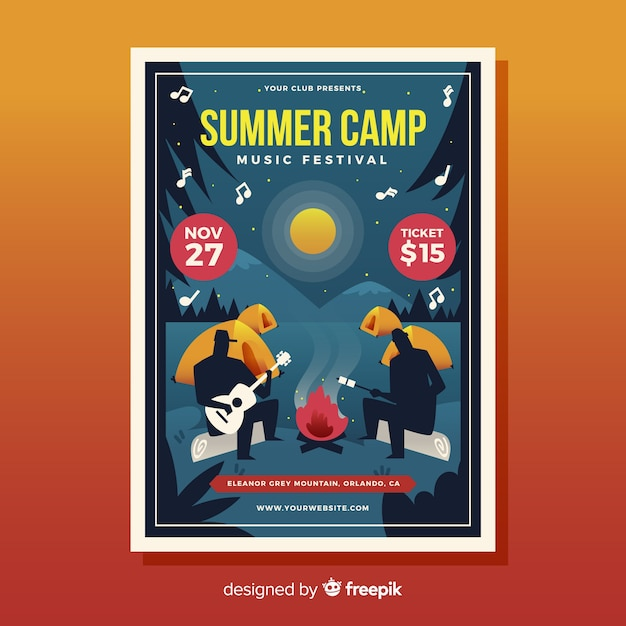 Flat design music festival poster Vector | Free Download