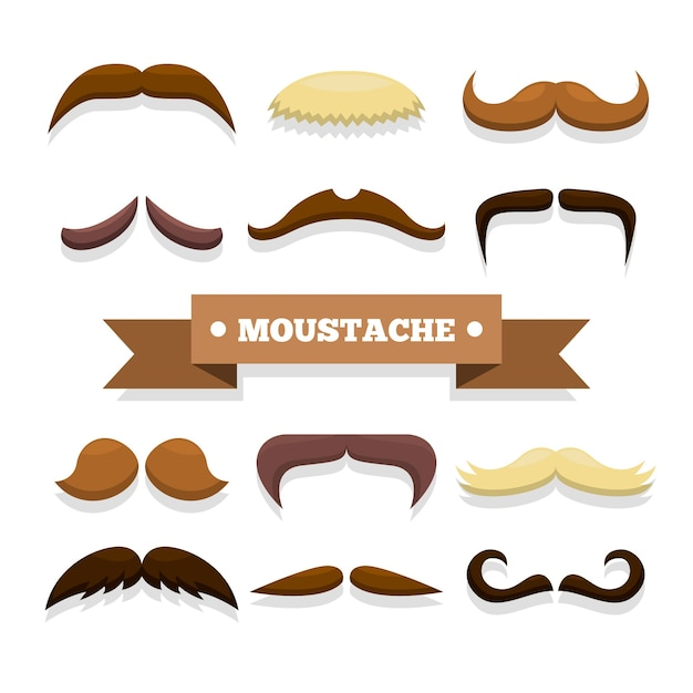 flat design mustache collection for movember vector free downloadMustache Design Pictures #16