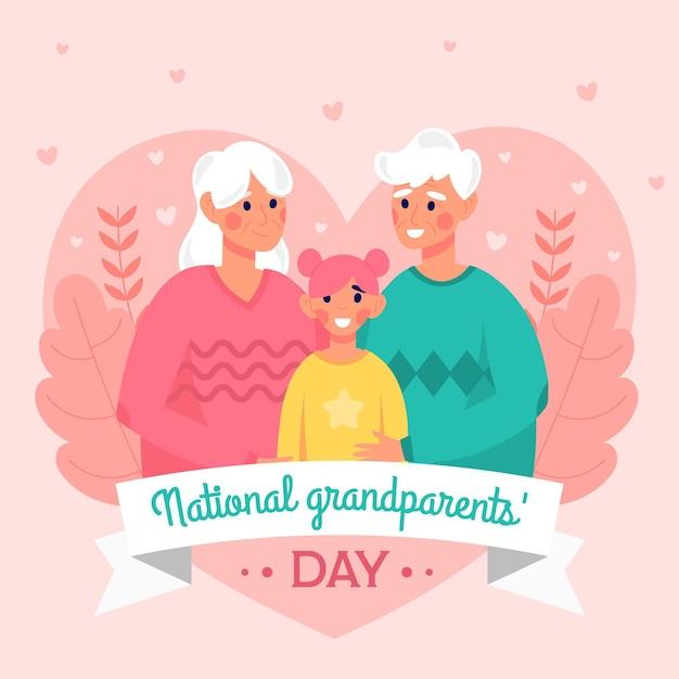 Плоский дизайн день бабушек и дедушек фон с внучкой Бесплатные векторы