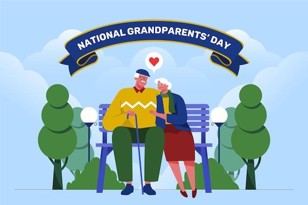 평면 디자인 국가 조부모의 날 배경 무료 벡터