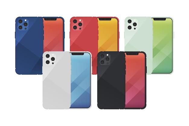 Nuovo smartphone dal design piatto in diversi colori Vettore gratuito