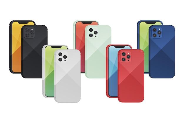 異なる色のセットでフラットデザインの新しいスマートフォン 無料ベクター