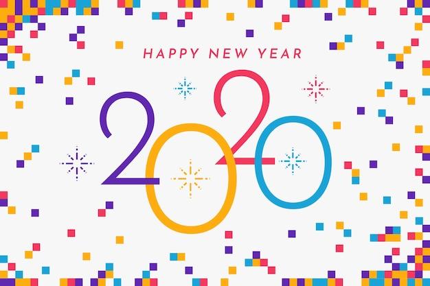 Concetto di sfondo design piatto nuovo anno 2020 Vettore gratuito