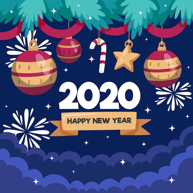 Flat design new year 2020 background concept Free Vector