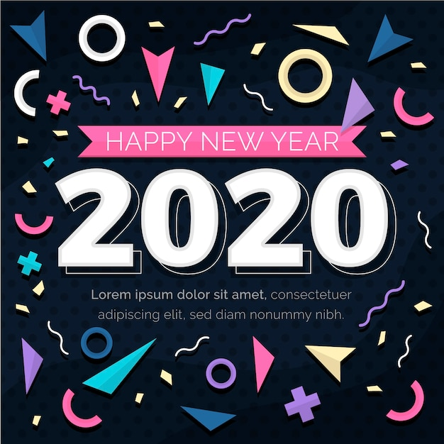 Flat design new year 2020 background Free Vector