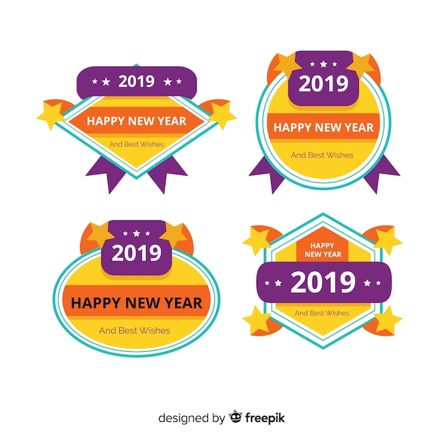 Flat design of  new year 2020 badge collection Free Vector
