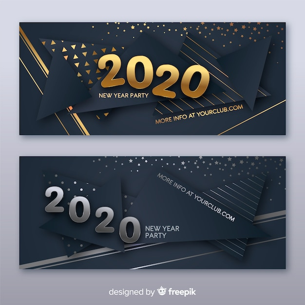 Flat design new year 2020 party banners template Free Vector