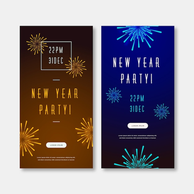 Flat design new year 2020 party banners Free Vector
