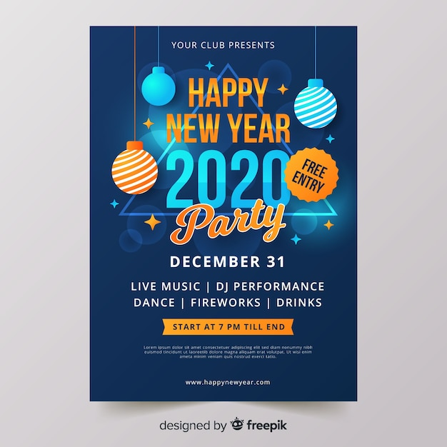 Flat design new year 2020 party flyer Free Vector