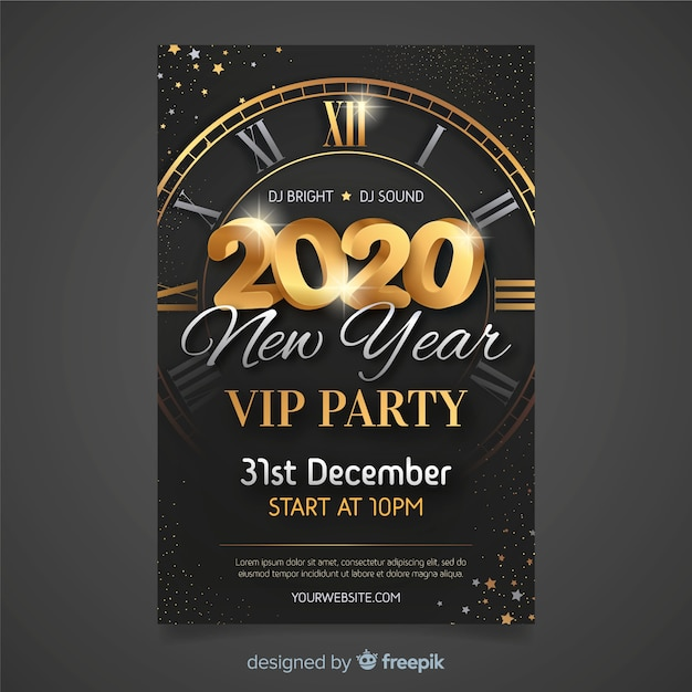 Flat design new year 2020 party poster template Free Vector