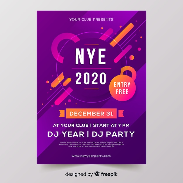 Flat design new year 2020 party poster Free Vector