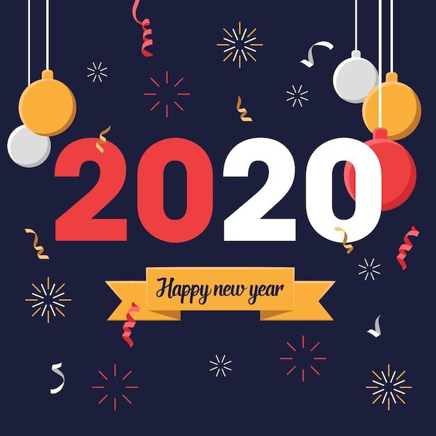 Flat design new year 2020 wallpaper Vector | Free Download