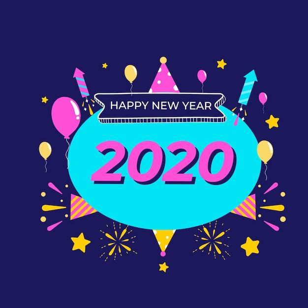Flat design new year 2020 wallpaper Free Vector